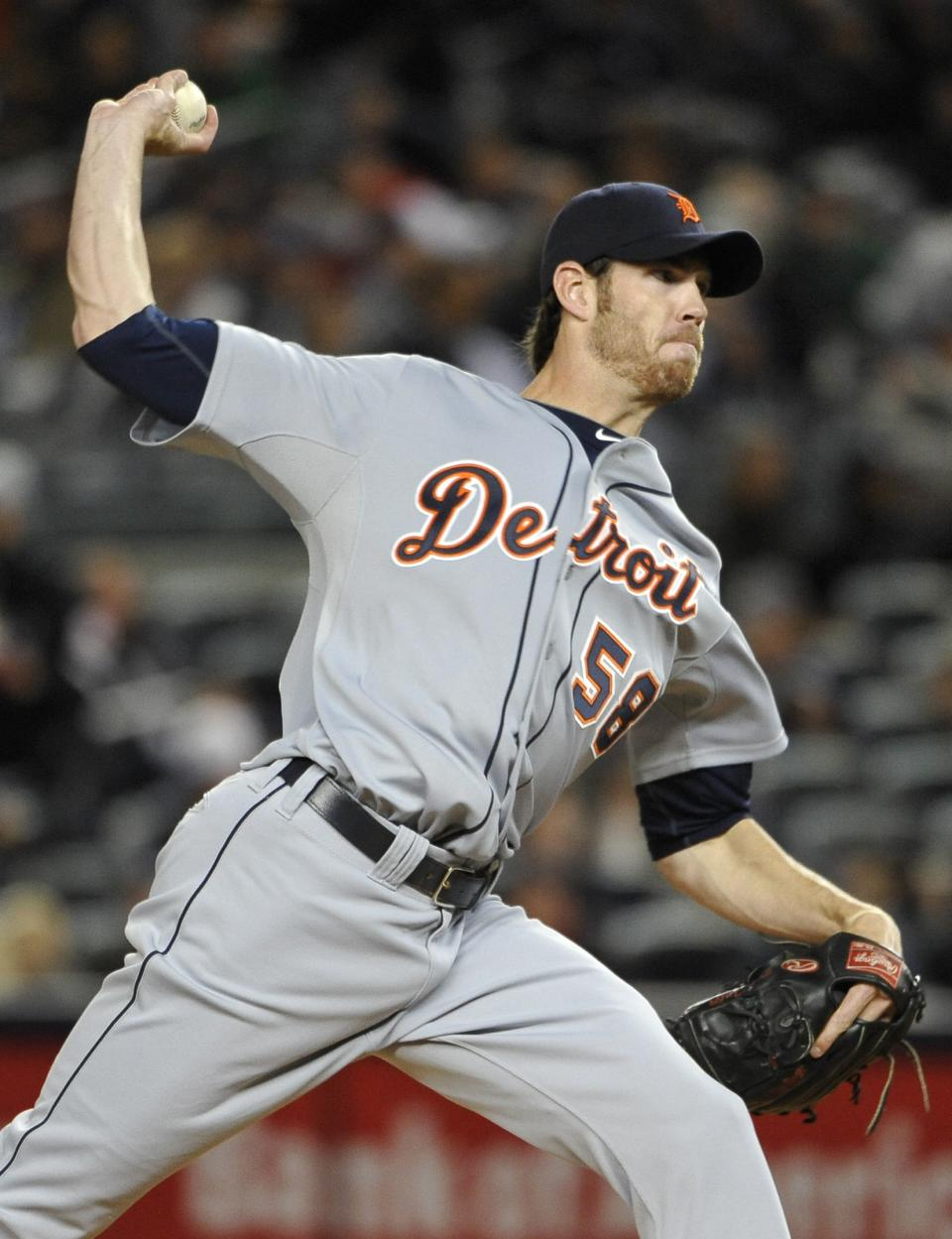 Detroit Tigers pitcher Doug Fister throws to a New York Yankees batter during the continuation of Game 1 of baseball's American League division series on Saturday, Oct. 1, 2011, at Yankee Stadium in New York. (AP Photo/Kathy Kmonicek)