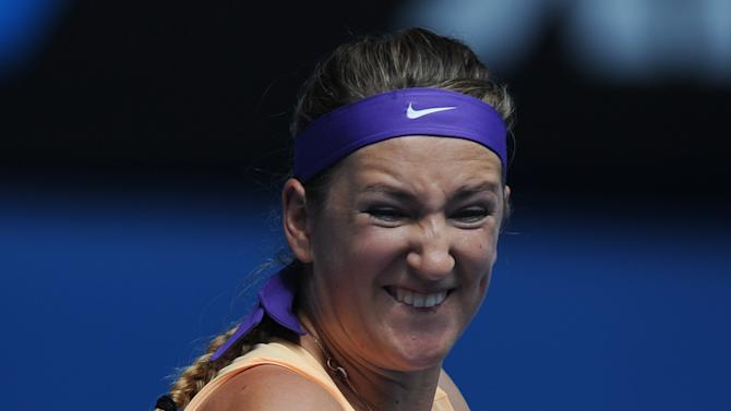 Victoria Azarenka of Belarus makes a forehand return to Greece's Eleni Daniilidou during their second round match at the Australian Open tennis championship in Melbourne, Australia, Thursday, Jan. 17, 2013. (AP Photo/Andrew Brownbill)