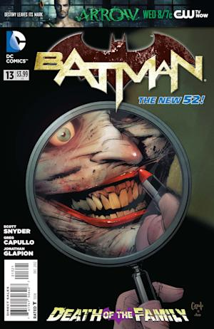 "This comic book cover image released by DC Entertainment shows the Joker on the cover of ""Batman"" No. 13, released this week. The story, ""Death of the Family,"" will cross numerous issues from now through February. (AP Photo/DC Entertainment)"