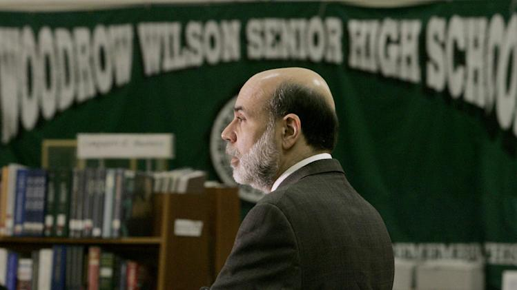 FILE - In this April 25, 2007 file photo, Federal Reserve Board Chairman Ben Bernanke speaks at the Greater Washington Jumpstart Coalition Financial Literacy Event at Woodrow Wilson Senior High School in Washington. The Wall Street meltdown of 2008 and the ensuing recession did little to improve the economic illiteracy of high school seniors, according to a new Education Department report. Students' scores changed little between 2006 and 2012, suggesting that heightened public discussion, millions of jobs lost, and homes foreclosures didn't translate to higher academic achievement.  (AP Photo/Pablo Martinez Monsivais, File)
