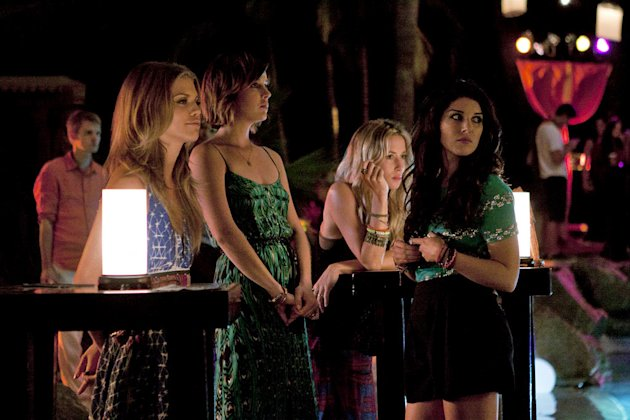 """Up In Smoke""--LtoR: AnnaLynne McCord as Naomi Clark, Jessica Stroup as Erin Silver, Gillian Zinser as Ivy Sullivan, and Shenae Grimes as Annie Wilson on 90210 on The CW. Photo: Michael Desmond/The CW"