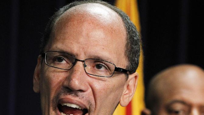 FILE - In this May 10, 2012 file photo, Labor Secretary nominee Thomas Perez speaks in Phoenix. GOP lawmakers have subpoenaed the private emails of Labor secretary-nominee Thomas Perez, a possible sticking point ahead of his Senate confirmation hearing next week.  (AP Photo/Ross D. Franklin, File)