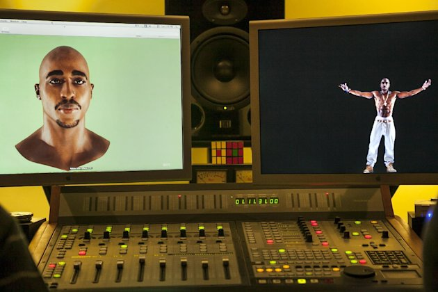 In this photo taken Tuesday, June 12, 2012, video images of the Tupac Shakur hologram are displayed on a computer monitor at the Subtractive Studio in Santa Monica, Calif. When Tupac Shakur rose from the stage in the California desert earlier this year, it was not only a jaw-dropping resurrection, but also the beginning of a new form of live entertainment. Stars wield extensive control over how their names, voices and images are used after they die through likeness, trademark and copyright protections, and now holograms offer them yet another consideration. (AP Photo/Damian Dovarganes)