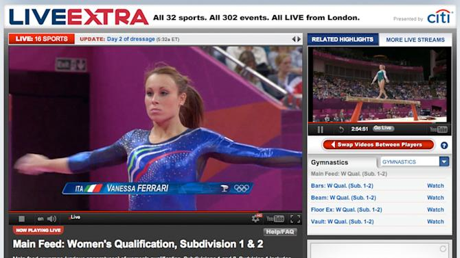 This image made from an NBC Sports website shows their live gymnastics coverage on Sunday, July 29, 2012. For the first time, NBC Sports is showing all competition and medal ceremonies live over the Internet in the U.S. (AP Photo)