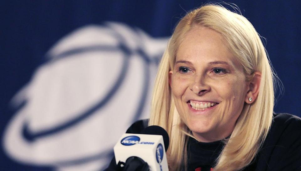Maryland head coach Brenda Frese smiles during a news conference prior to practice for a women's regional semifinal game in the NCAA college basketball tournament in Bridgeport, Conn., Friday, March 29, 2013. Maryland plays Connecticut Saturday. (AP Photo/Charles Krupa)