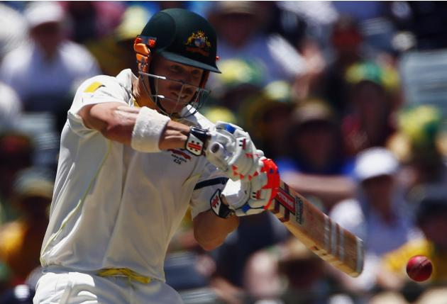 Australia's Warner hits six during first day of third Ashes cricket test against England in Perth