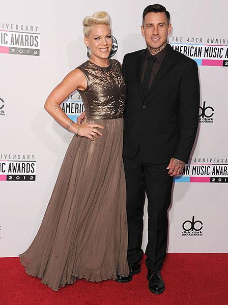 Pink and Carey Hart arrives at the 40th Anniversary American Music Awards at Nokia Theatre L.A. Live on November 18, 2012 in Los Angeles