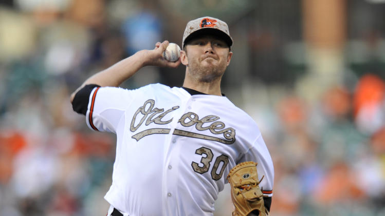 Baltimore Orioles pitcher Chris Tillman delivers against the Boston Red Sox in the first inning of a baseball game, Friday, June 14, 2013, in Baltimore. (AP Photo/Gail Burton)