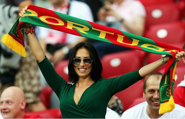 Fanática portuguesa. República Checa vs. Portugal. Getty Images
