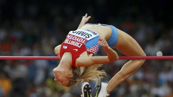 Simic of Croatia competes in the women's high jump final during the 15th IAAF World Championships at the National Stadium in Beijing