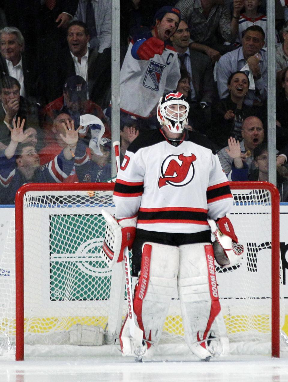 New Jersey Devils goalie Martin Brodeur is jeered by New York Rangers fans during the third period of Game 5 of an NHL hockey Stanley Cup Eastern Conference final playoff series, Wednesday, May 23, 2012, in New York. (AP Photo/Frank Franklin II)