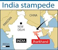 A map locating India's Jharkhand state, where a stampede at a religious celebration killed at least nine people, eight of them women, an official said