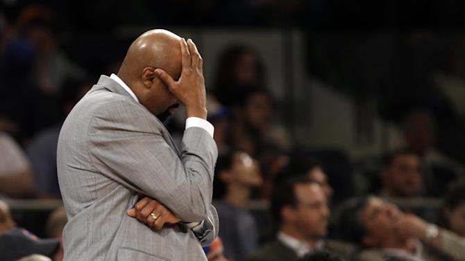 New York Knicks head coach Mike Woodson reacts in the second half of Game 1 of their NBA basketball playoff series in the Eastern Conference semifinals against the Indiana Pacers at Madison Square Garden in New York, Sunday, May 5, 2013. The Pacers won 102-95. (AP Photo/Kathy Willens)