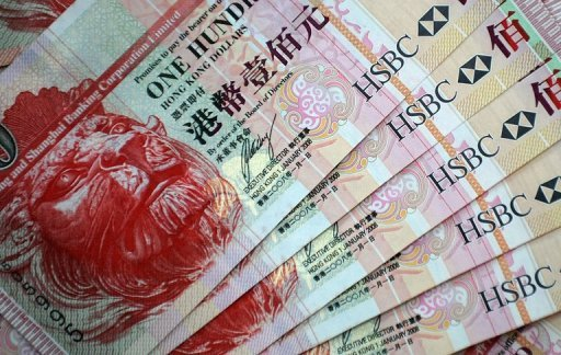 <p>File photo of HSBC 100 Hong Kong dollar banknotes. The Hong Kong Monetary Authority has sold $603 million worth of Hong Kong dollars in the foreign exchange market in an effort to curb the currency's rise, according to a report.</p>