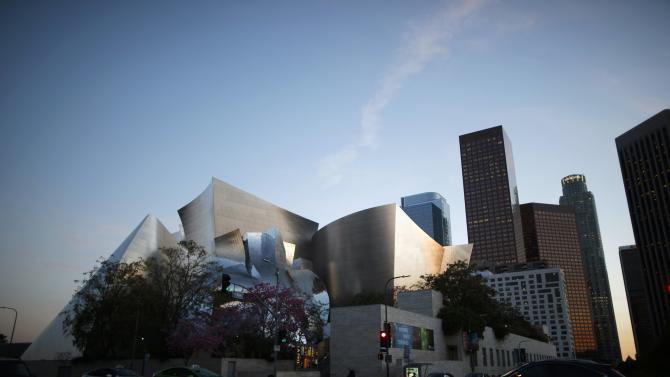 The Walt Disney Concert Hall, designed by architect Frank Gehry, is seen in downtown Los Angeles, California