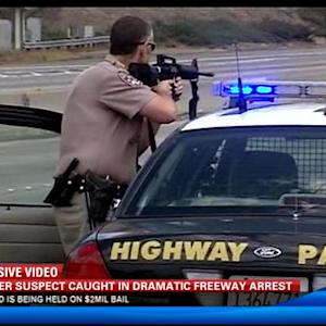 Murder suspect caught in dramatic freeway arrest