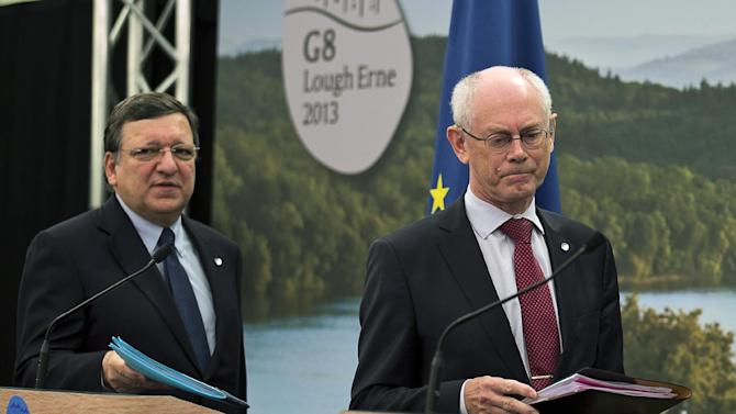 President of the European Commission Jose Manuel Durao Barroso, left, and  President of the European Council Herman Van Rompuy, arrive to address a press conference on the first day of the G8 summit at Lough Erne in Northern Ireland, Monday June 17, 2013.  The G8 leaders from Canada, France, Germany, Italy, Japan, Russia, USA and UK are meeting at Lough Erne in Northern Ireland for a two day Summit, where the leaders are expected to discuss the ongoing conflict in Syria, and free-trade issues.(AP Photo / Kerim Okten)