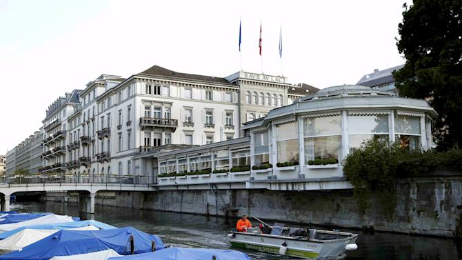 A general view shows the Baur au Lac hotel in Zurich
