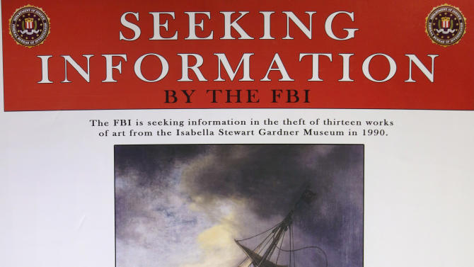 In this Monday, March 18, 2013 copy photo of a poster provided by the FBI, a likeness of the stolen Rembrandt painting The Storm on the Sea of Galilee is seen at FBI headquarters in Boston. The FBI believes it knows the identities of the thieves who stole art valued at up to $500 million from Boston's Isabella Stewart Gardner Museum more than two decades ago. (AP Photo/FBI)
