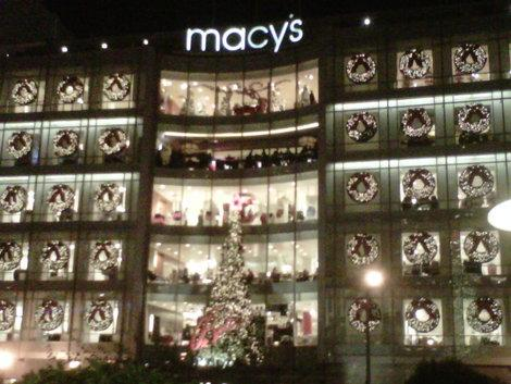 Macy's is all decorated for Christmas in Union Square, San Francisco. (Photo courtesy of Laurie Jo Miller Farr.)