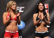 CHICAGO, IL - JANUARY 27:  (L-R) UFC Octagon Girls Brittney Palmer and Arianny Celeste attend the UFC on FOX official weigh in at the Chicago Theatre on January 27, 2012 in Chicago, Illinois.