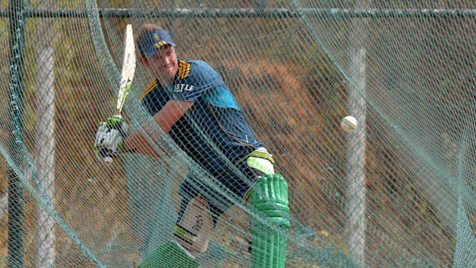 South African captain AB de Villiers plays a shot during a practice session at the Mahinda Rajapaksa International Cricket Stadium in Hambantota on July 11, 2014