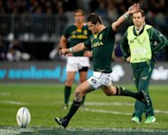 South Africa's Morne Steyn kicks the ball during their rugby union test against New Zealand on September 15. Defeat by the All Blacks was all the more painful because once deadly fly-half Steyn missed four of five kicks at goal
