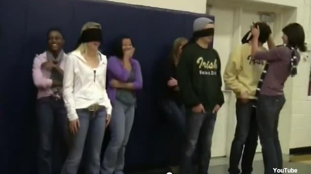 A parental pep rally kissing game at Rosemount High School in Minnesota