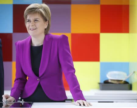 Nicola Sturgeon, the leader of the Scottish National Party, visits the Cook School during a campaign event, in Kilmarnock, Scotland