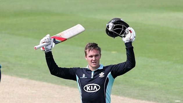 Jason Roy celebrates reaching his century