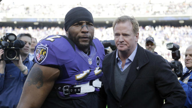 Baltimore Ravens inside linebacker Ray Lewis, left, departs after greeting NFL Commissioner Roger Goodell before an NFL wild card playoff football game against the Indianapolis Colts Sunday, Jan. 6, 2013, in Baltimore. (AP Photo/Patrick Semansky)
