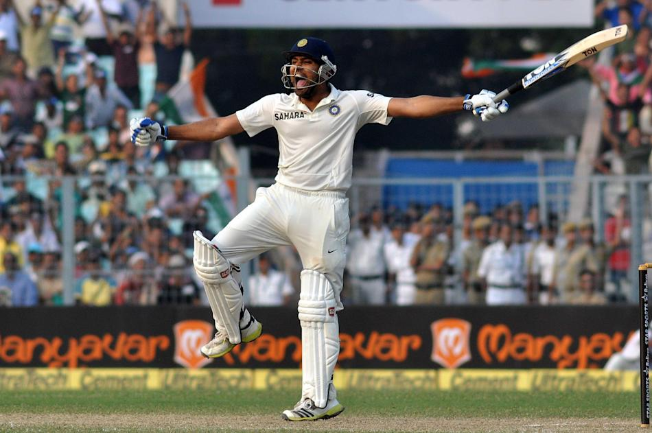 Indian batsman Rohit Sharma celebrates his century during the 2nd day of the 1st test match between India and West Indies at Eden Gardens, Kolkata on Nov. 7, 2013. (Photo: IANS)