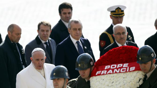 Pope Francis prepares to lay wreaths at the mausoleum of modern Turkey's founder Ataturk in Ankara