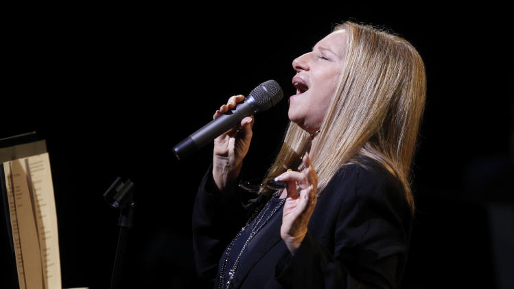 Barbara Streisand performs during A Tribute to Marvin Hamlisch, a memorial concert, at The Juilliard School's Peter Jay Sharp Theater, Tuesday, Sept. 18, 2012 in New York. (Photo by Jason DeCrow/Invision/AP Images)