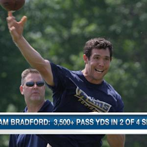 St. Louis Rams quarterback Sam Bradford and Kurt Warner one-on-one
