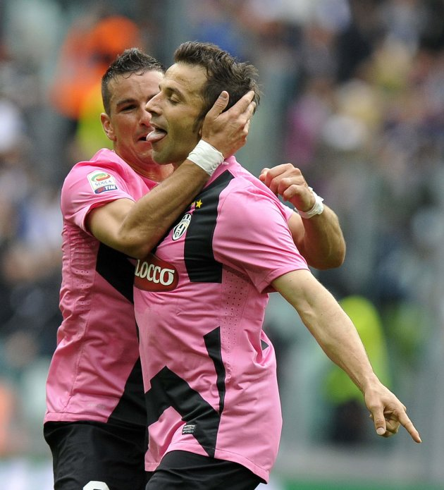 Juventus' Alessandro Del Piero celebrates with his team mate Simone Padoin after scoring against Atalanta during their Serie A soccer match at the Juventus stadium in Turin