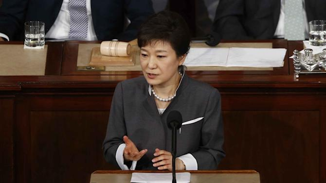 South Korea's President Park Geun-hye addresses a joint session of Congress on Capitol Hill in Washington, Wednesday, May 8, 2013. (AP Photo/Charles Dharapak)