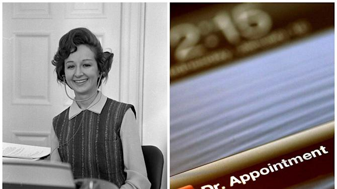 This combination of Associated Press file photos shows, left, Yolanda Boozer, a secretary in the office of President Lyndon B. Johnson, in 1963, in Washington, and right, a reminder application as demonstrated on an iPhone, in 2013, in New York. The number secretaries and administrative assistants in the U.S. fell from 4.2 million to 3.1 million in ten years through 2010. (AP Photo)