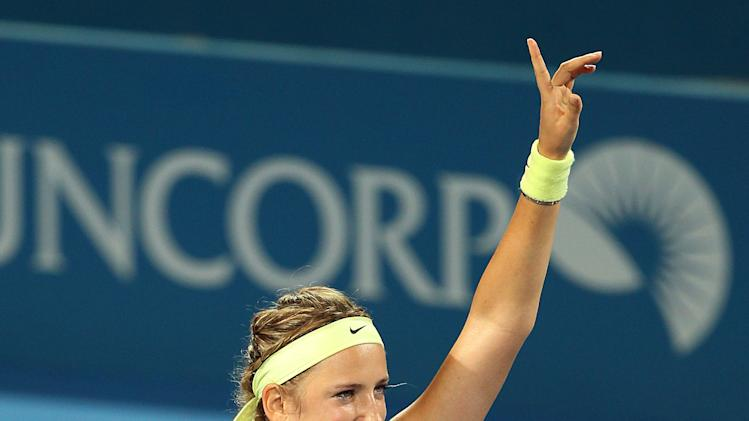 Victoria Azarenka of Belarus waves at the crowd after winning her second round match against Sabine Lisicki of Germany 6-3, 6-3 during the Brisbane International tennis tournament in Brisbane, Australia, Wednesday, Jan. 2, 2013.  (AP Photo/Tertius Pickard).
