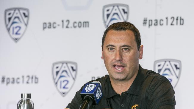 Souther California head coach Steve Sarkisian takes questions at the  Pac-12 NCAA college football media days at Paramount Studios in Los Angeles, Wednesday, July 23, 2014. (AP Photo)