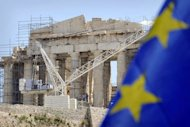 Workers on scaffolding work in front of the Parthenon Temple at the Acropolis archaeological site in Athens. Greek political parties failed to form a viable government amid warnings by creditors that a loan to be paid on Thursday could be the last if Athens failed to honour repayment commitments