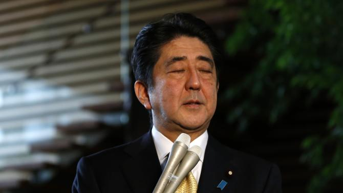 Japan's Prime Minister Shinzo Abe speaks to the media at his official residence in Tokyo