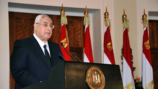 "In this photo provided by the Egyptian Presidency, interim President Adly Mansour speaks to an audience of government officials and members of the panel that drafted Egypt's amended constitution at the presidential palace in Cairo, Egypt, Saturday, Dec. 14, 2013. A key referendum on the amended constitution will be held next month, Mansour said Saturday, calling on citizens to vote ""yes"" for a document he described setting the path toward a modern democratic state. (AP Photo/Egyptian Presidency)"