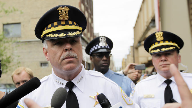 Chicago Police Superintendent Garry McCarthy address the news media during a protest march to Boeing corporate offices for a demonstration as a part of the NATO summit Monday, May 21, 2012 in Chicago. (AP Photo/Nam Y. Huh)