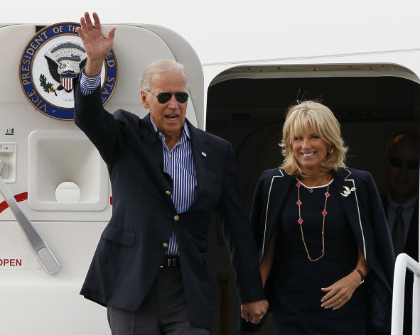 Vice President Joe Biden and his wife Jill Biden arrive in Charlotte, N.C., Tuesday, Sept. 4, 2012, to attend the Democratic National Convention. (AP Photo/Gerry Broome)