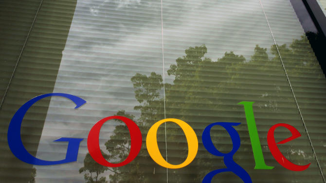 FILE- In this Thursday, April 12, 2012, photo, a Google logo is displayed at the headquarters in Mountain View, Calif. Google Inc. reports quarterly financial results after the market closes on Thursday, July 19, 2012. (AP Photo/Paul Sakuma, File)