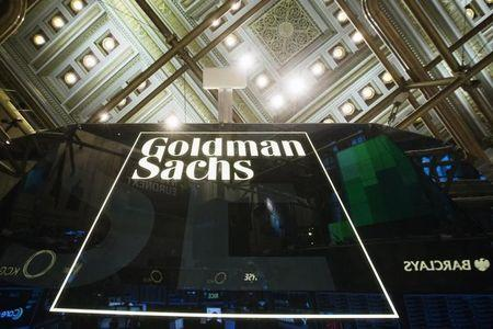 Goldman Sachs sign is seen above floor of the New York Stock Exchange shortly after the opening bell in the Manhattan borough of New York