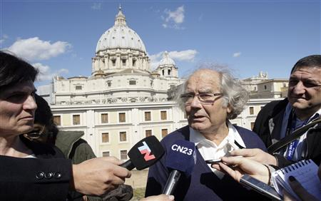 "Adolfo Perez Esquivel speaks with media after a private meeting at the Vatican with Pope Francis, in Rome, March 21, 2013. Esquivel defended Pope Francis on Thursday against accusations he failed to speak out against repression during the 1976-83 military dictatorship in their native Argentina, saying he prefered ""silent diplomacy"". REUTERS/Remo Casilli"
