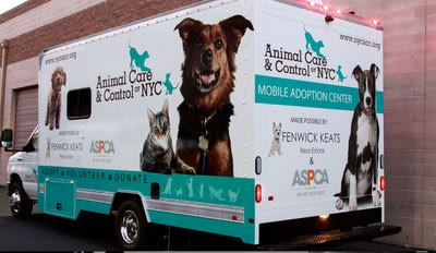 FENWICK KEATS Real Estate and ASPCA donate first NYC owned state-of-the-art Mobile Adoption Center to Animal Care & Control (AC&C). (PRNewsFoto/FENWIC...