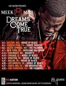 """Live Nation and Hip Hop Star Meek Mill Announce """"Dreams Come True"""" National Spring Tour"""